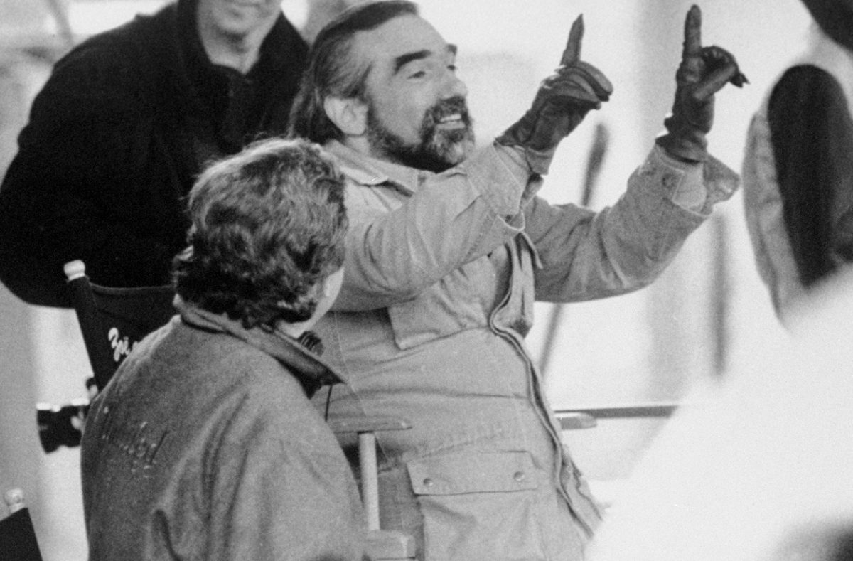 Martin Scorsese holds a frame with his fingers on the set of 'Goodfellas.'