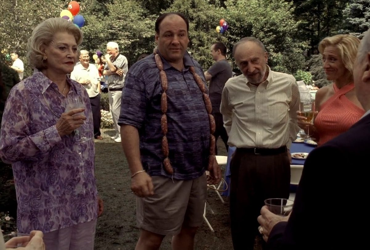 Suzanne Shepherd and her 'Sopranos' co-stars in a scene from the show