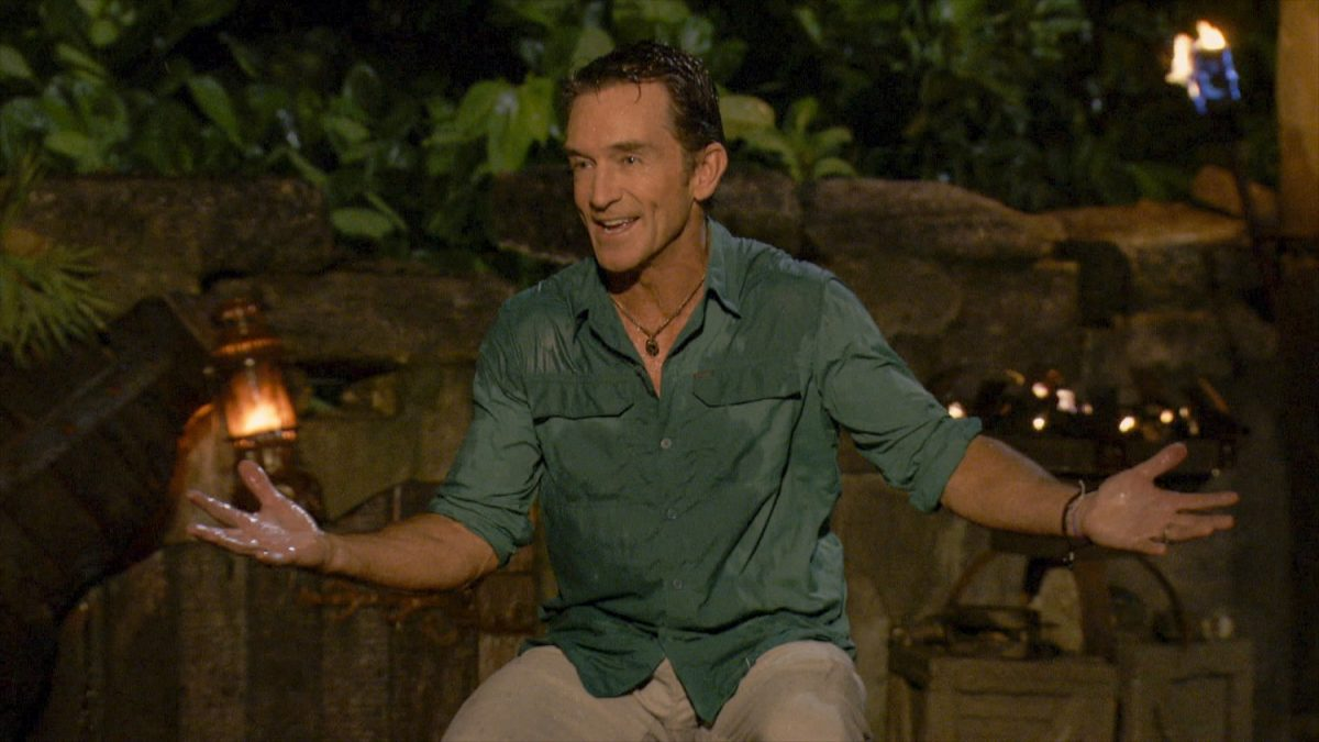 Jeff Probst at Tribal Council on the three-hour season finale episode of SURVIVOR: WINNERS AT WAR, airing Wednesday, May 13th (8:00-11:00 PM, ET/PT) on the CBS Television Network. Image is a screen grab.
