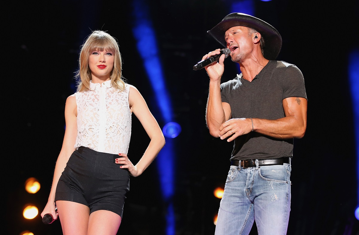 Taylor Swift (L) and Tim McGraw perform during the 2013 CMA Music Festival on June 6, 2013, in Nashville, Tennessee.