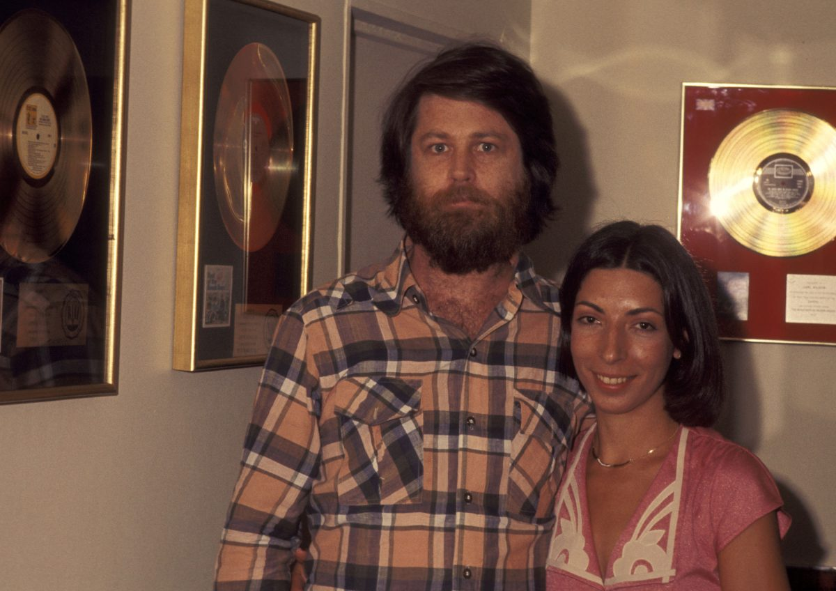 Brian and Marilyn Wilson with gold records