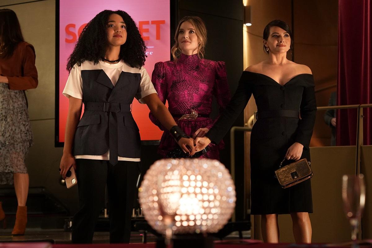 (L-R): Aisha Dee as Kat Edison, Meghann Fahy as Sutton Brady, Katie Stevens as Jane Sloan in 'The Bold Type' Season 5