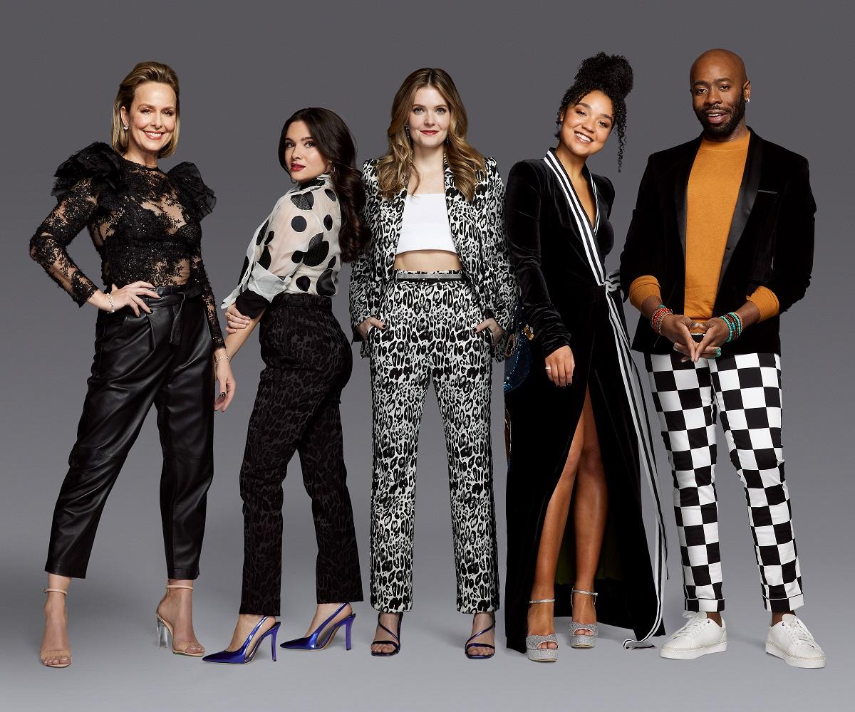 (L-R): Freeform's 'The Bold Type' stars Melora Hardin, Katie Stevens, Meghann Fahy, Aisha Dee, and Stephen Conrad Moore.