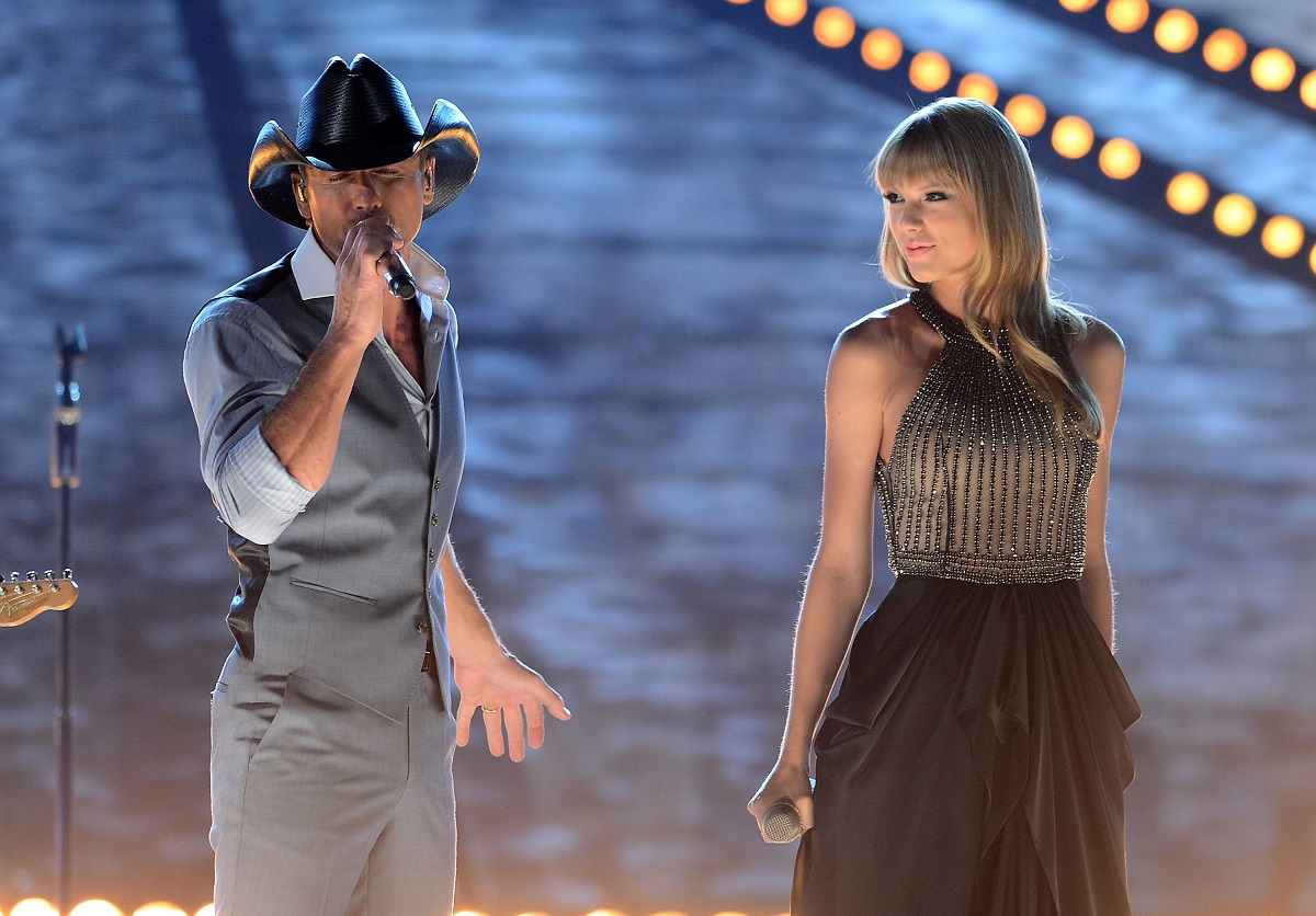 Tim McGraw (L) and Taylor Swift perform onstage during the 48th Annual Academy of Country Music Awards on April 7, 2013, in Las Vegas, Nevada.