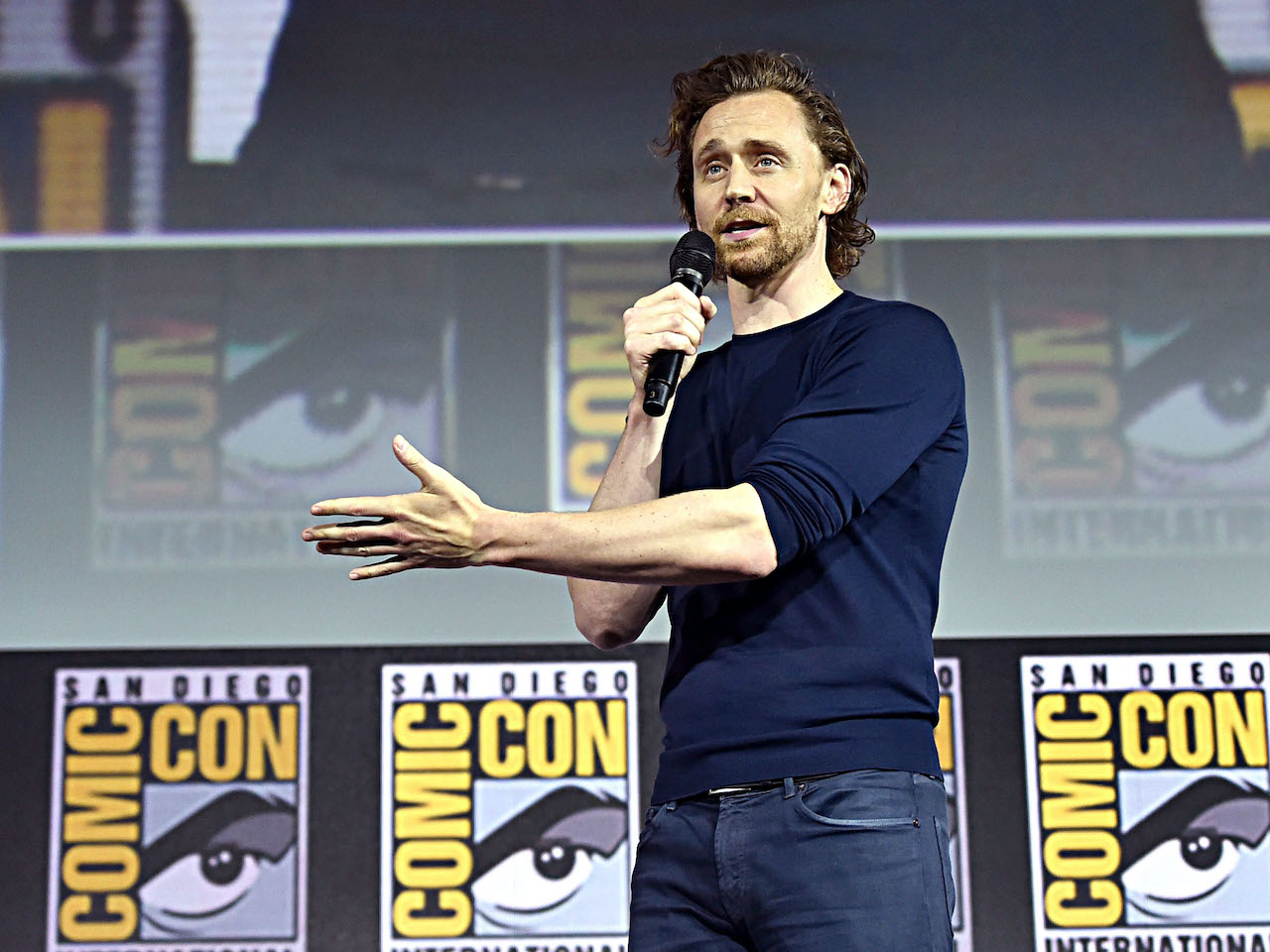 Tom Hiddleston of Marvel Studios' 'Loki' at the San Diego Comic-Con International 2019 Marvel Studios Panel