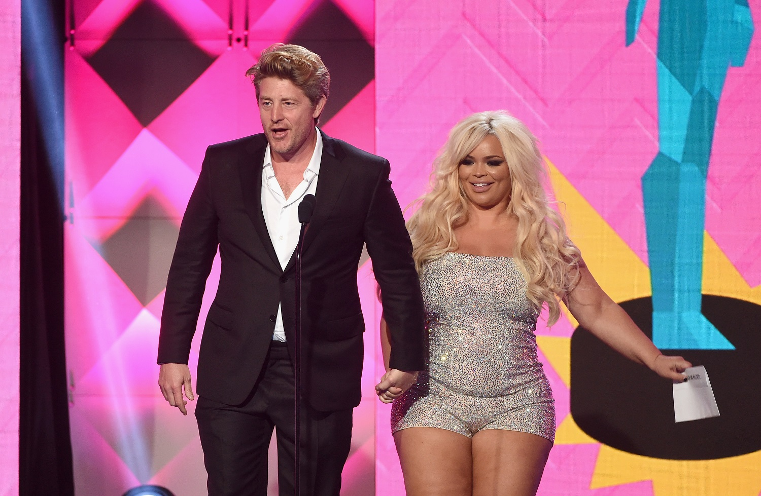 Jason Nash and Trisha Paytas speak onstage during The 8th Annual Streamy Awards at The Beverly Hilton Hotel on October 22, 2018
