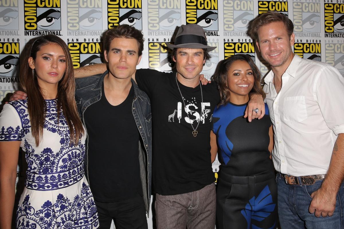 Nina Dobrev, Paul Wesley, Ian Somerhalder, Kat Graham and Matthew Davis attend 'The Vampire Diaries' press room at Comic-Con, 2014