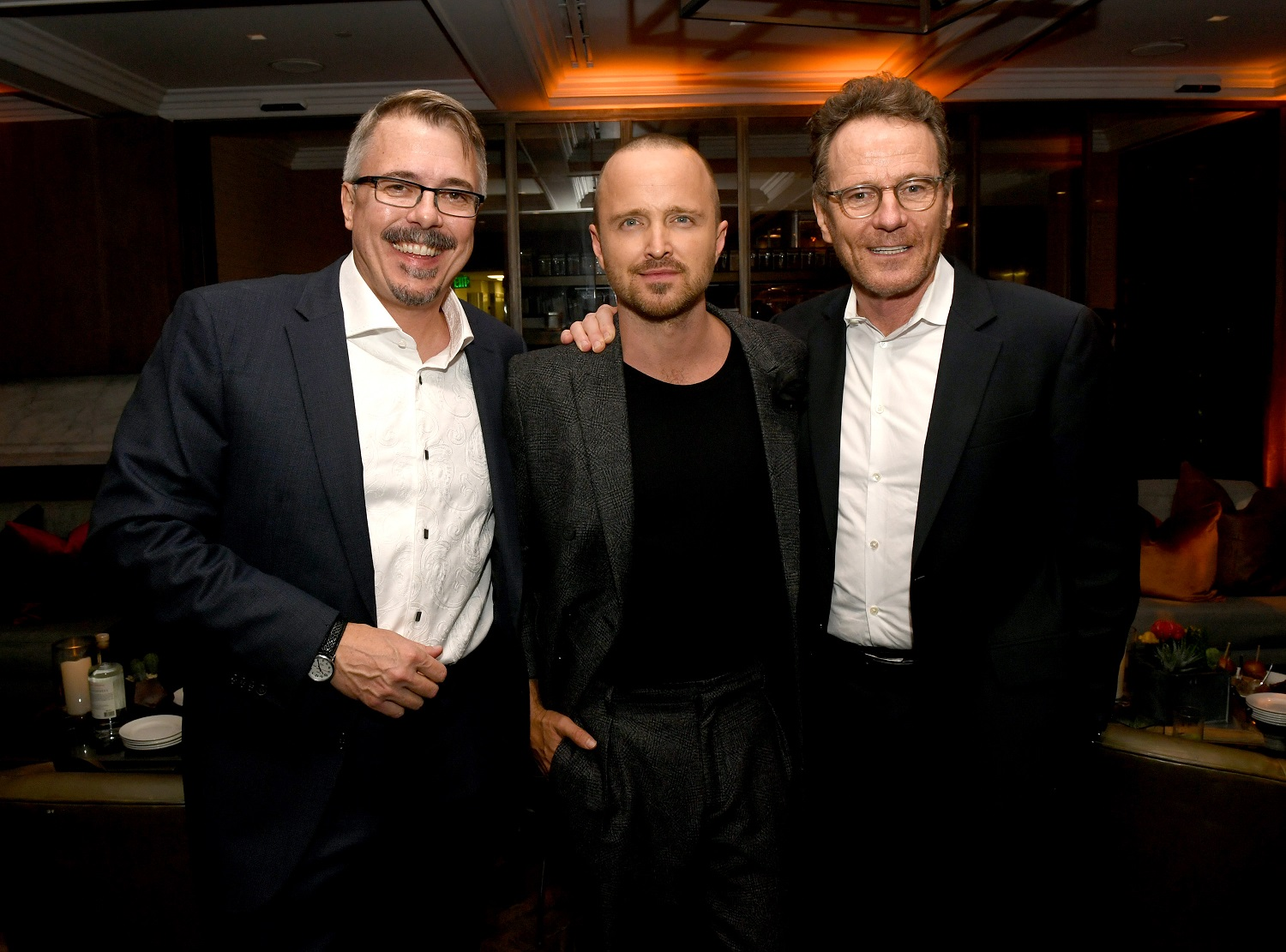 Vince Gilligan, Aaron Paul, and Bryan Cranston pose at the after party for the premiere of El Camino: A Breaking Bad Movie