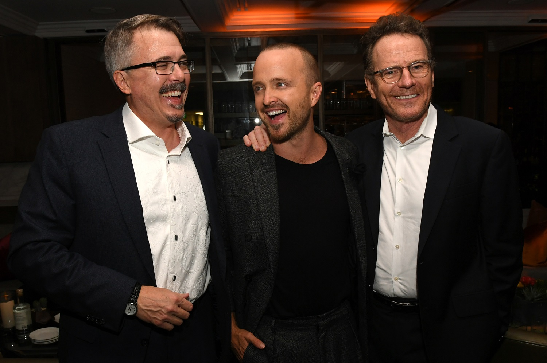 Vince Gilligan, Aaron Paul and Bryan Cranston of Breaking Bad