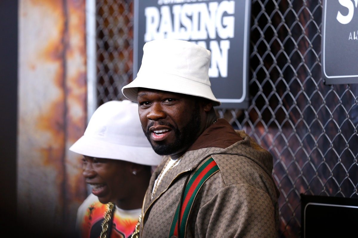 Mekai Curtis and 50 Cent attend the 'Power Book III: Raising Kanan' New York premiere at the Hammerstein Ballroom on July 15, 2021 in New York City