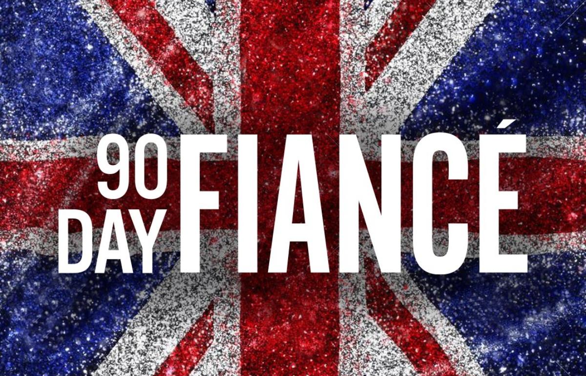 '90 Day Fiancé UK' logo over UK flag