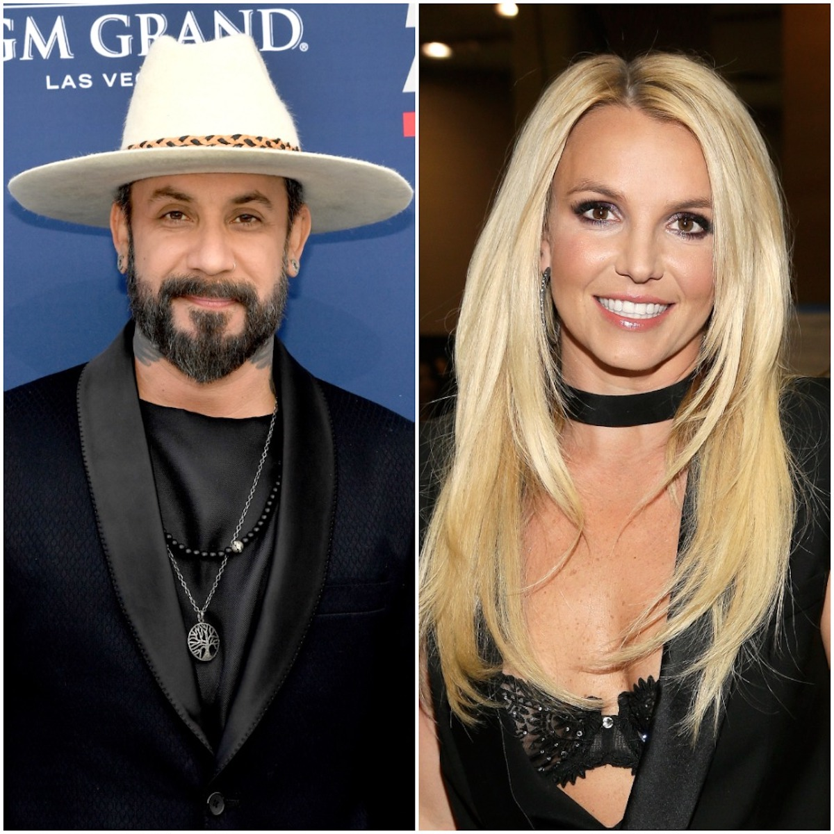 AJ McLean poses for cameras at the 2019 Academy of Country Music Awards; Britney Spears smiles at the 2013 iHeart Radio Music Festival