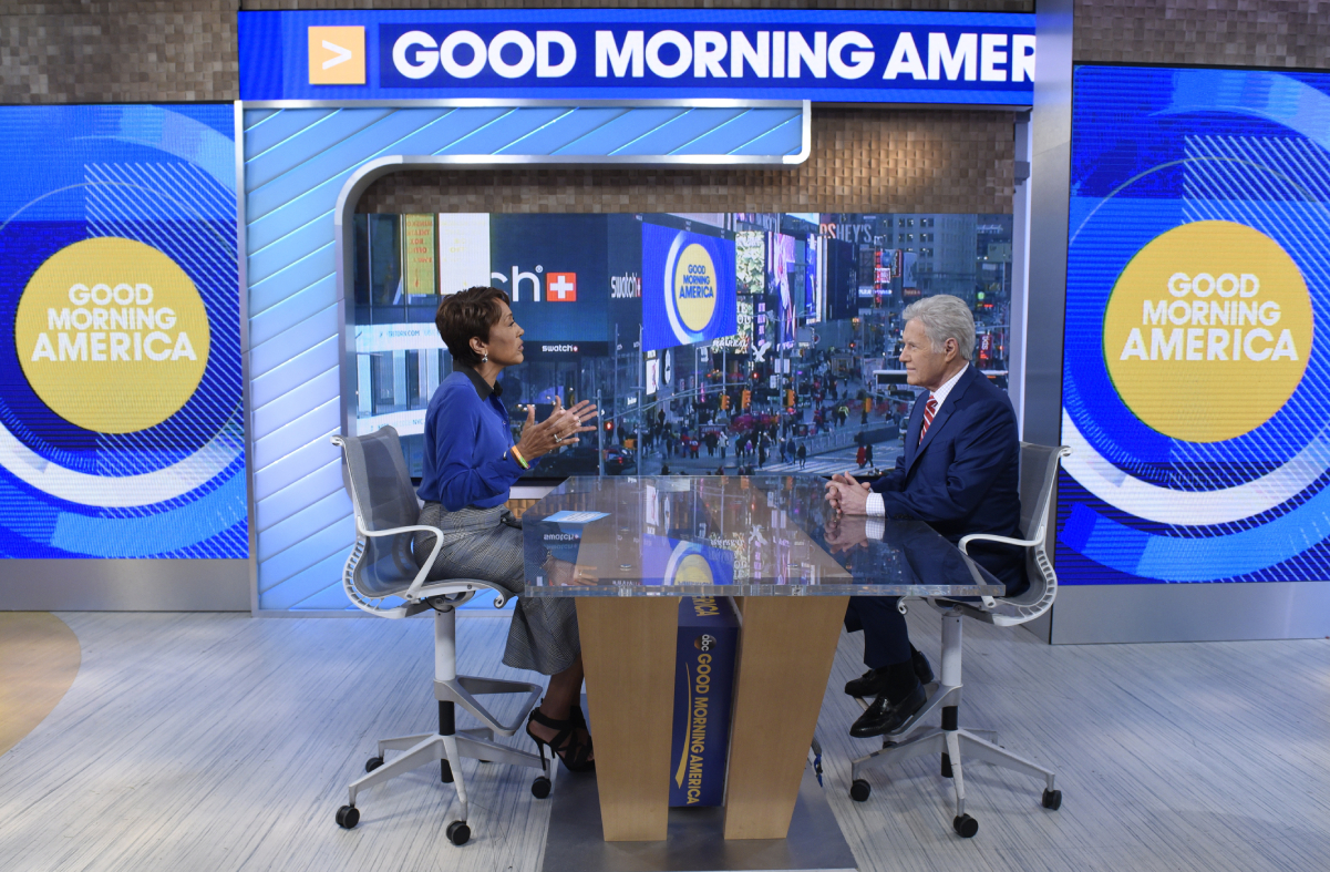 (Left to right): Robin Roberts and Alex Trebek chat on the set of 'Good Morning America'