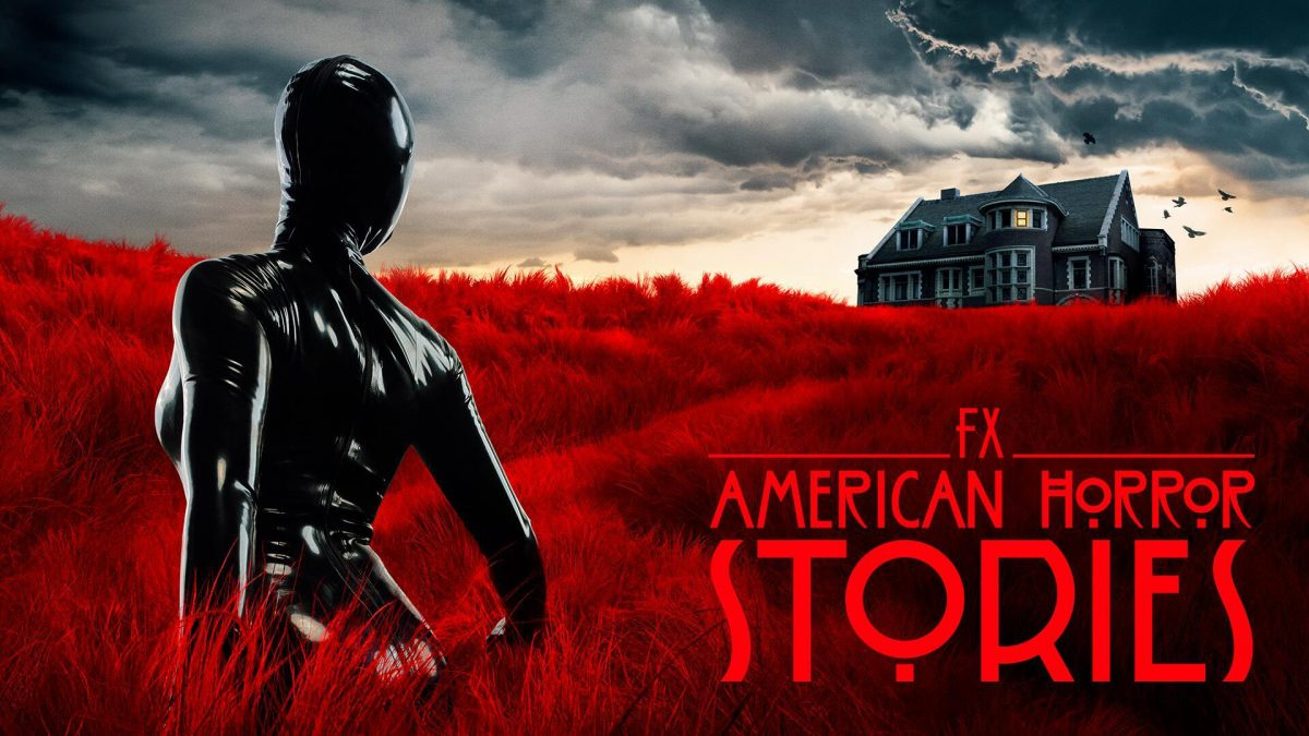 The 'American Horror Stories' Season 1 key art features the Rubber Woman in front of Murder House