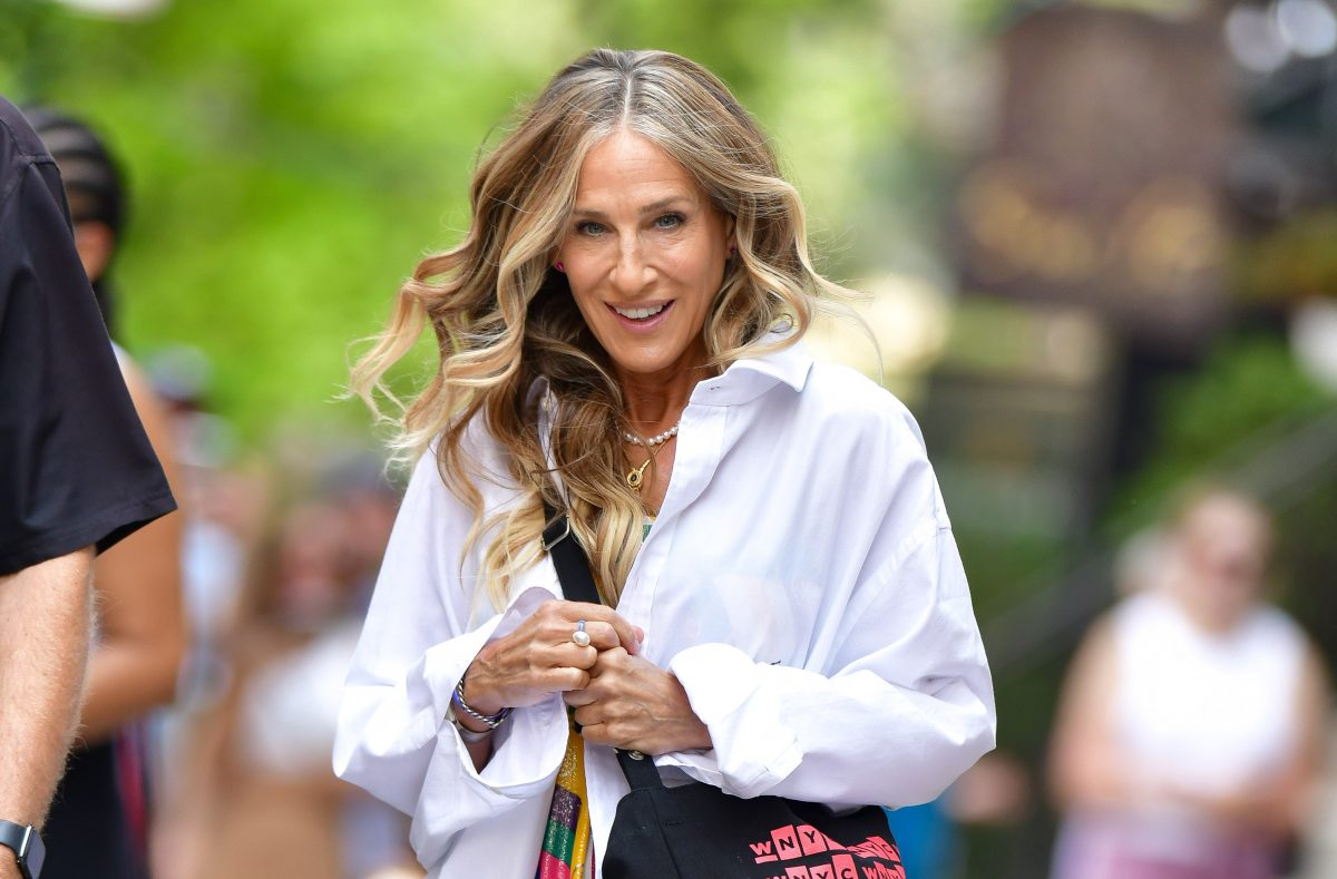 Sarah Jessica Parker is spotted in New York City on July 15, 2021, filming 'And Just LIke That...'