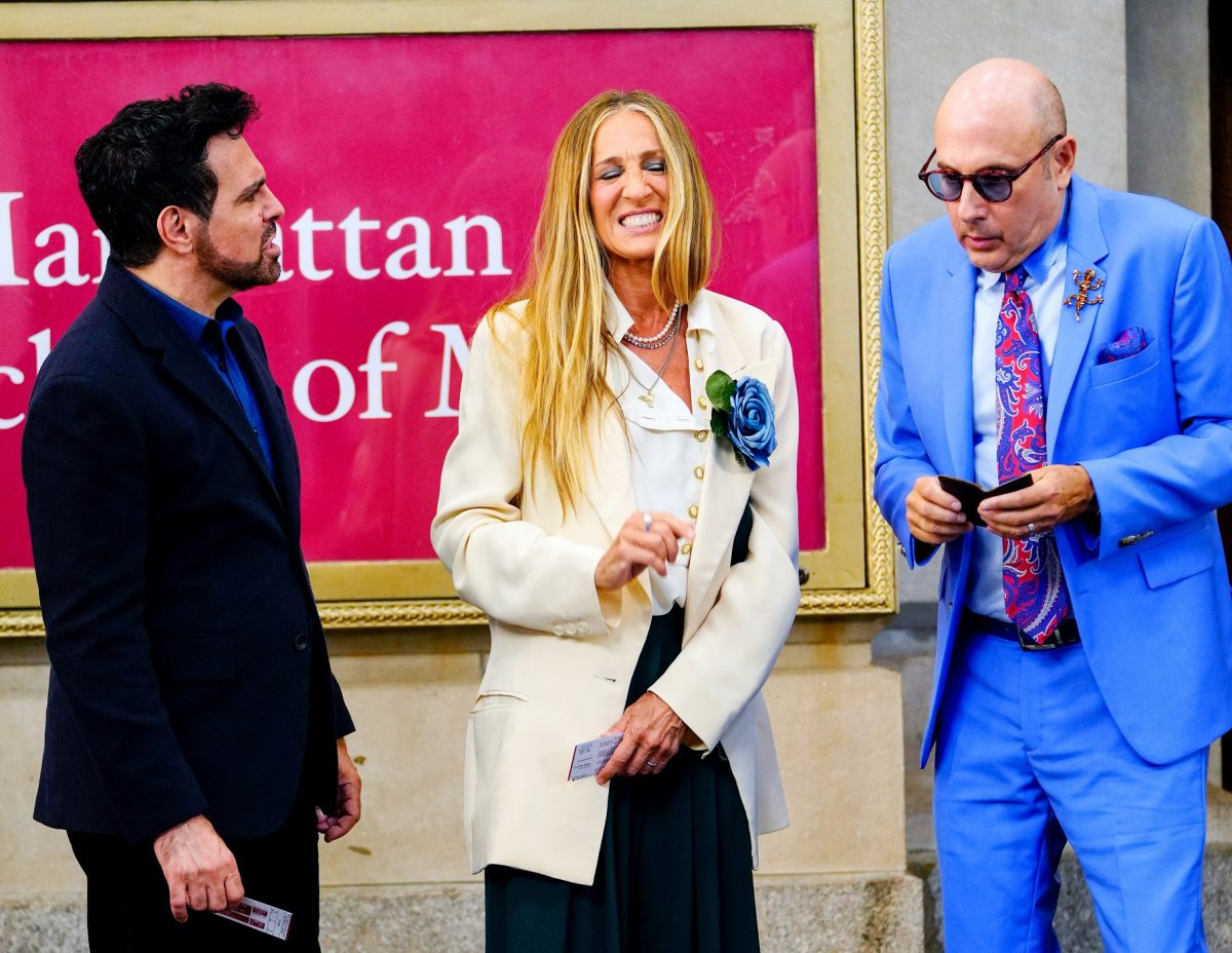 """Mario Cantone, Sarah Jessica Parker and Willie Garson are seen filming """"And Just Like That..."""" in New York City"""
