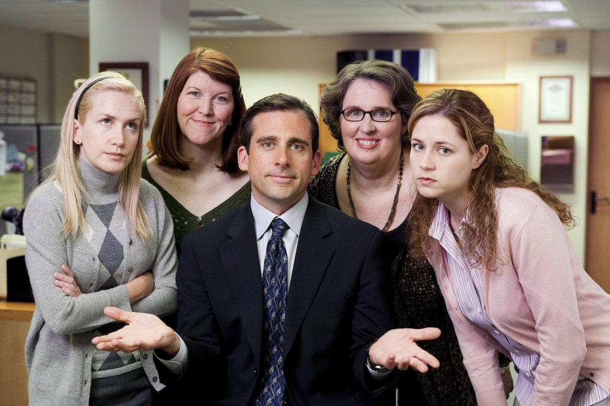 The Office cast as their characters filming the 'Valentine's Day' episode