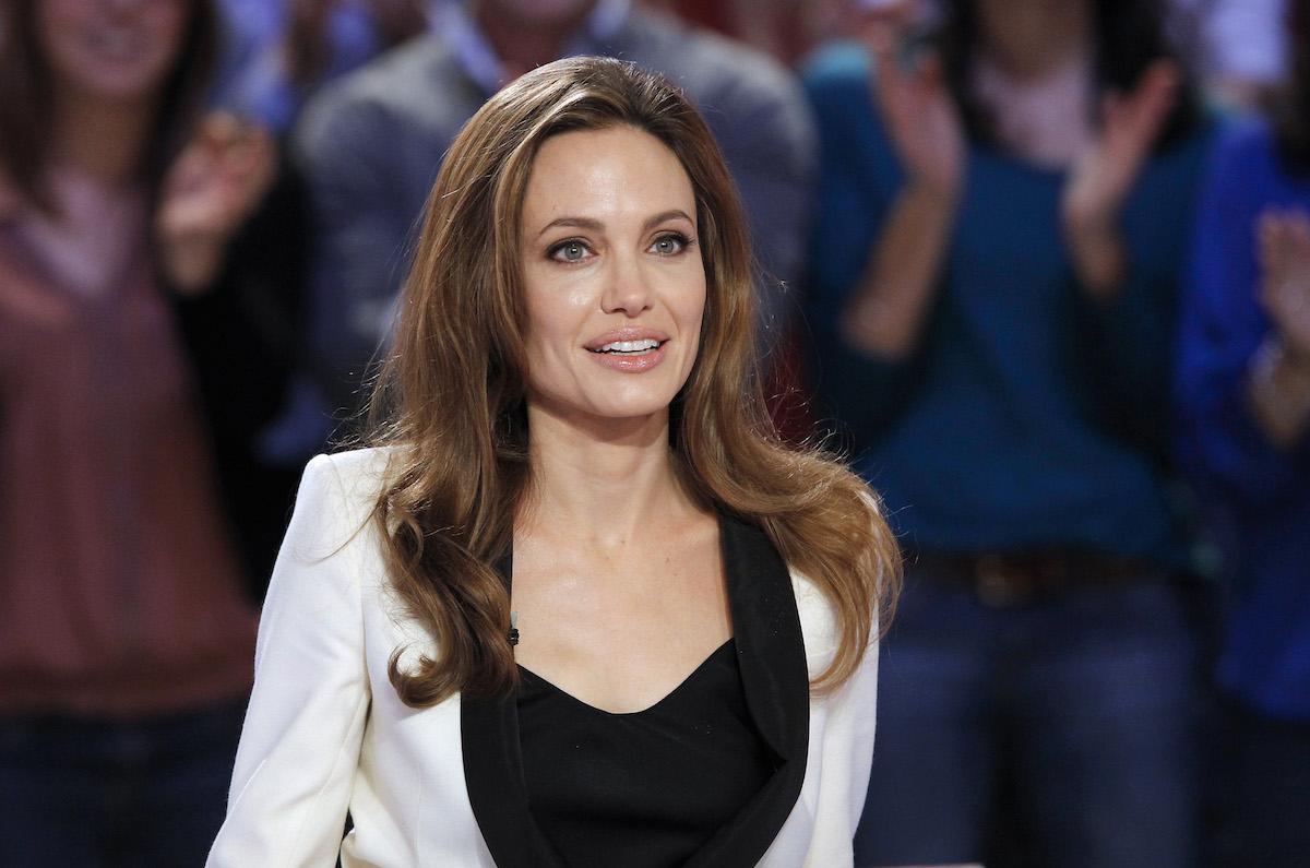 Angelina Jolie on the set of a TV show