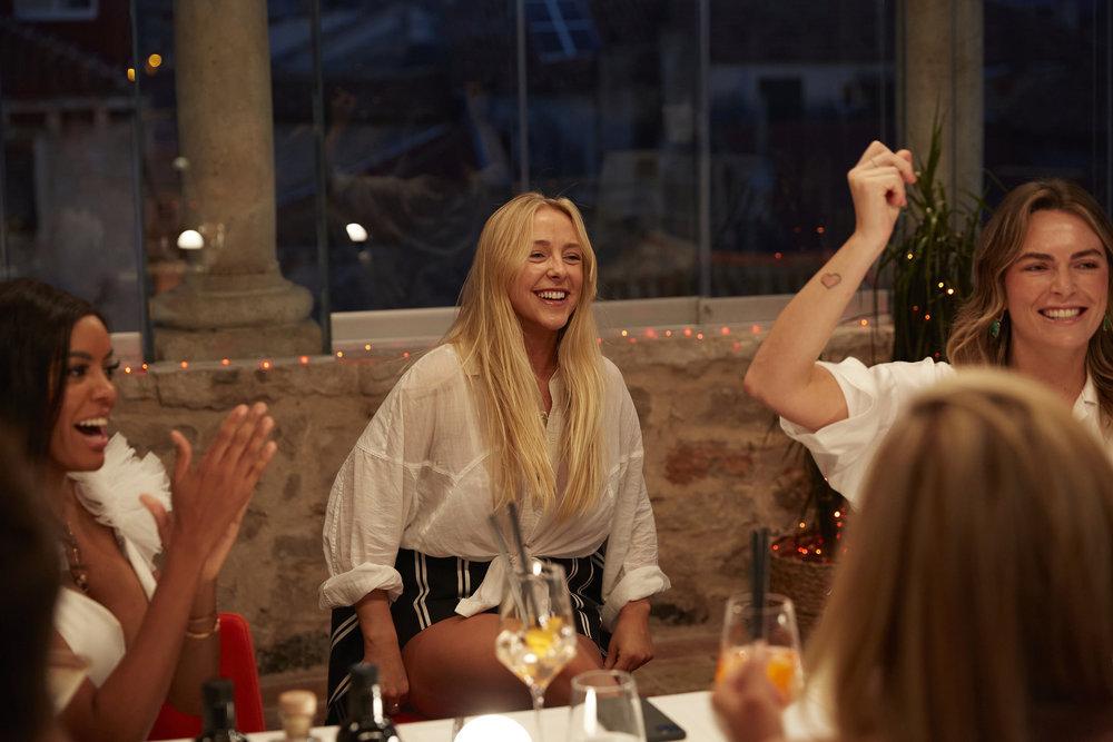 Below Deck Mediterranean Courtney Veale, Lexi Wilson and Katie Flood at dinner