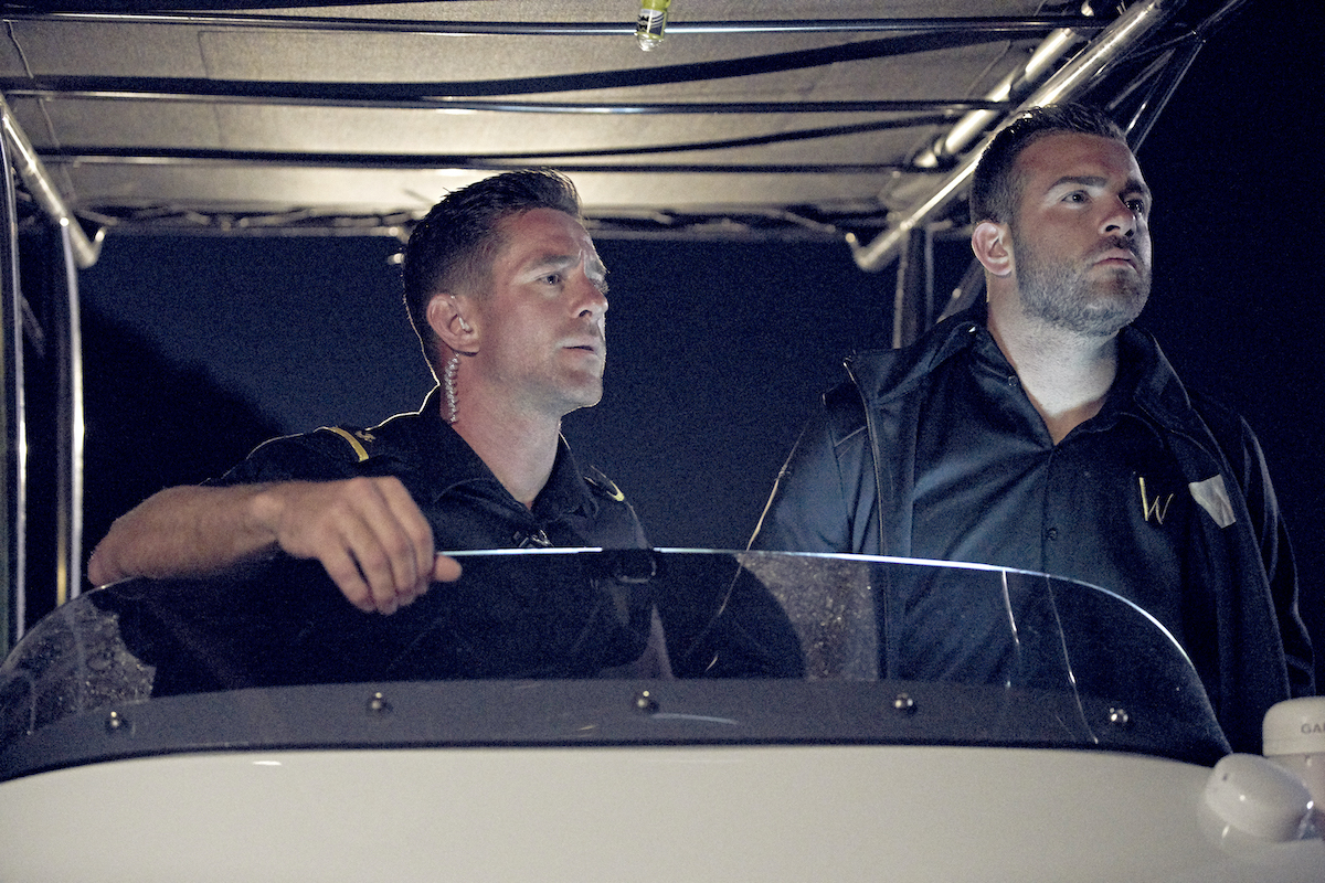 Pete Hunziker, Alex Radcliffe on a Below Deck Mediterranean tender during season 5
