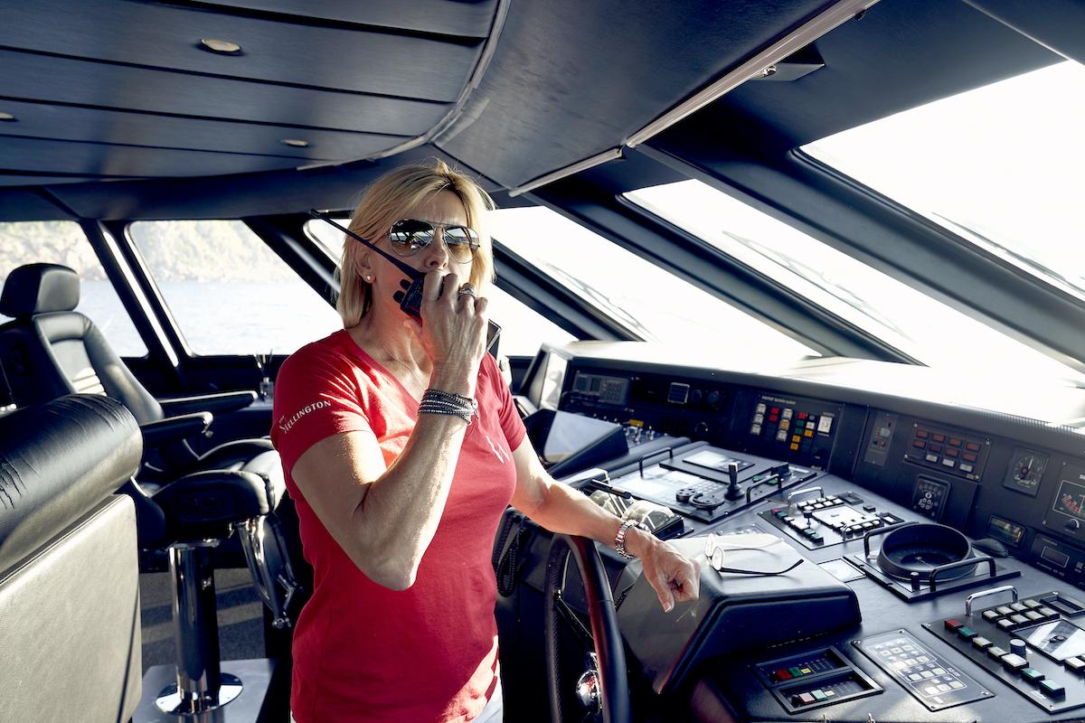 Below Deck Mediterranean's Captain Sandy Yawn radio's the crew from the bridge