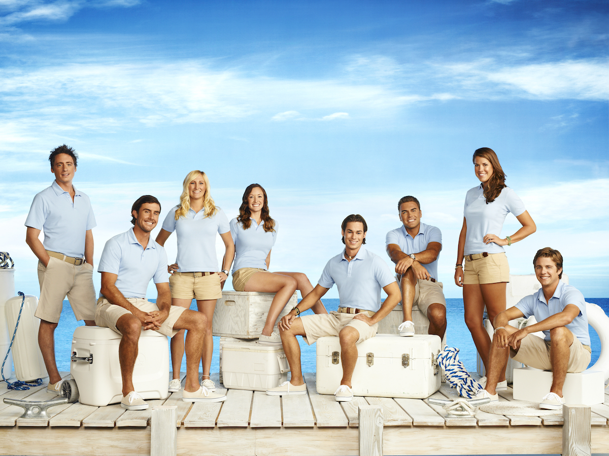 Below Deck Season 1 crew: Ben Robinson, C.J. Lebeau, Kathleen Held, Adrienne Gang, David Bradberry, Alex Taldykin, Samantha Orme, Eddie Lucas