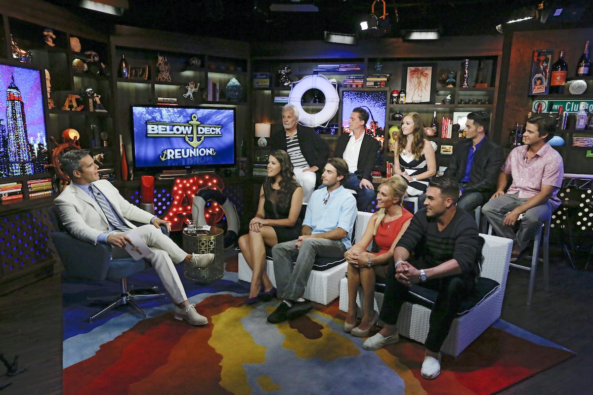 Below Deck Season 1 reunion: Andy Cohen, Samantha Orme, Captain Lee Rosbach, C.J. LeBeau, Ben Robinson, Kat Held, Adrienne Gang, Aleks Taldykin, David Bradberry, Eddie Lucas