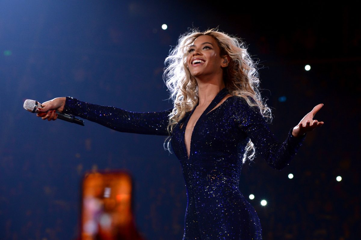 """Beyoncé on stage during """"The Mrs. Carter Show World Tour"""" in 2013"""