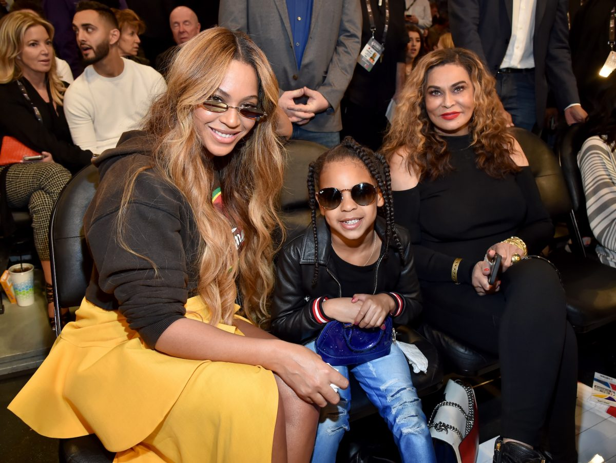 Beyoncé, Blue Ivy Carter, and Tina Knowles Lawson attending the 67th NBA All-Star Game in 2018