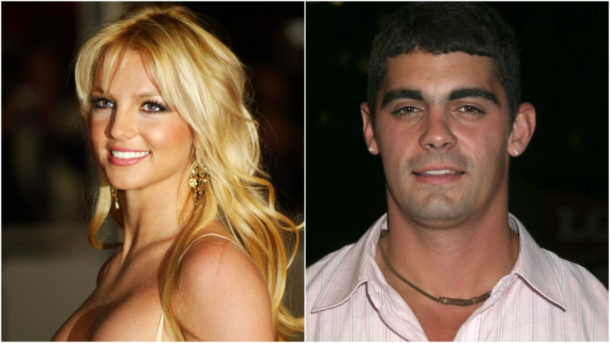 A collage image of Britney Spears and Jason Alexander
