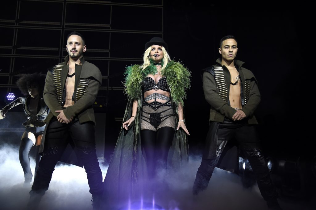 Britney Spears performs on stage during her Piece of Me Summer Tour in 2018