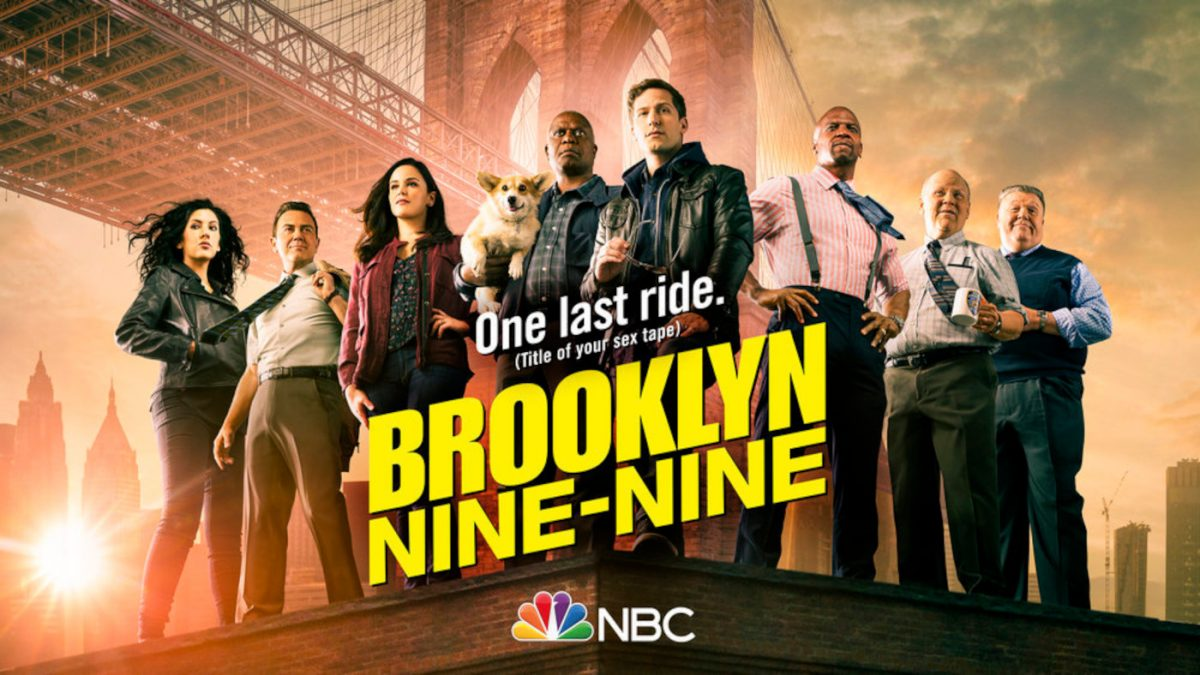 Brooklyn Nine-Nine Season 8 key art sees the main cast standing in front of the Brooklyn Bridge with text that says 'One Last Ride (Title of Your Sex Tape' on it