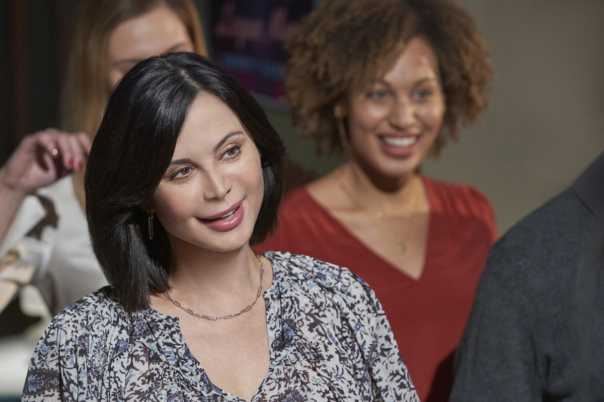 Smiling Catherine Bell as Cassie in 'Good Witch,' with Kyana Teresa as Zoey in background