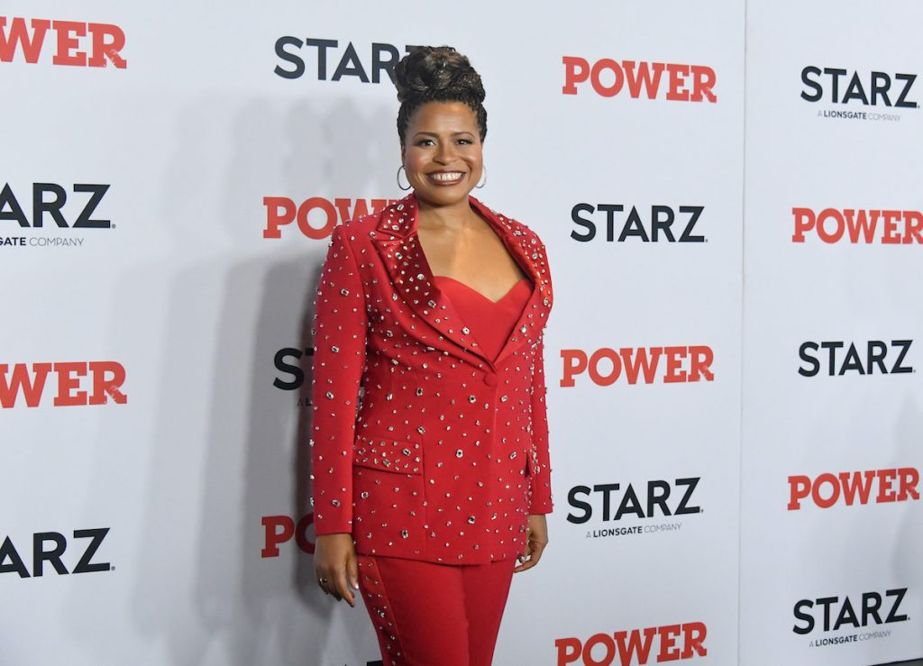"""Courtney Kemp Agboh attends the """"Power"""" premiere in a red suit"""