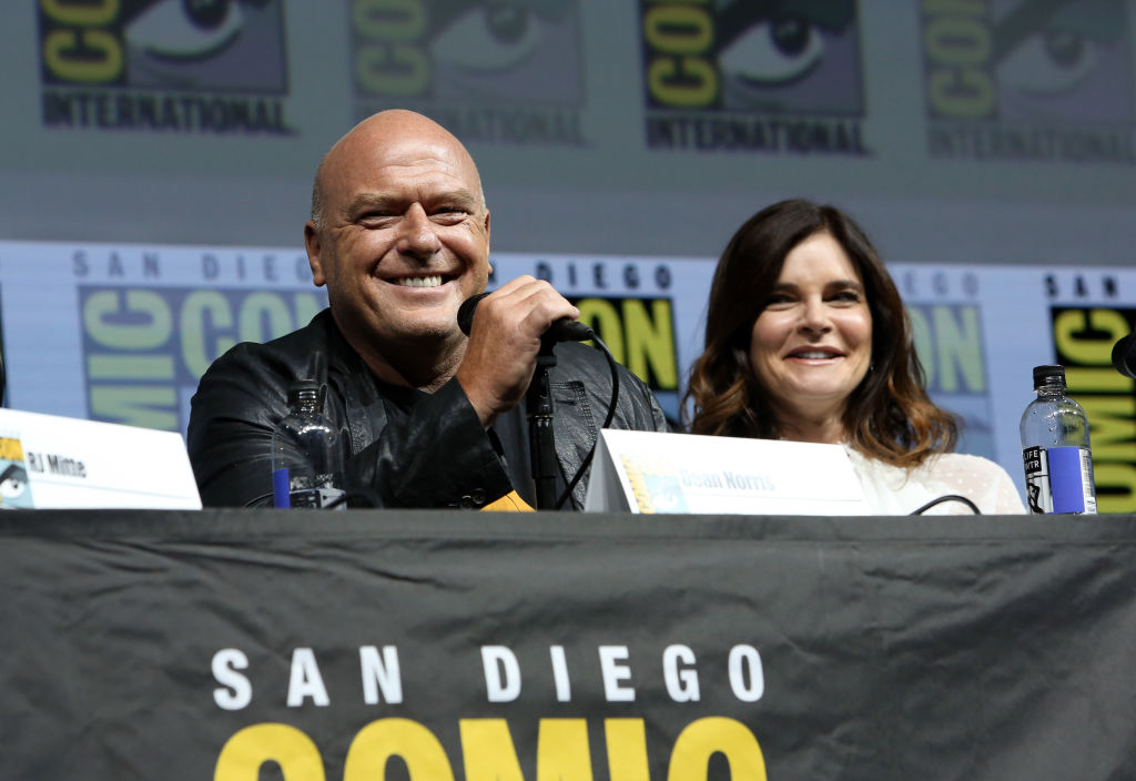 Dean Norris and Betsy Brandt speak at a panel for 'Breaking Bad'.