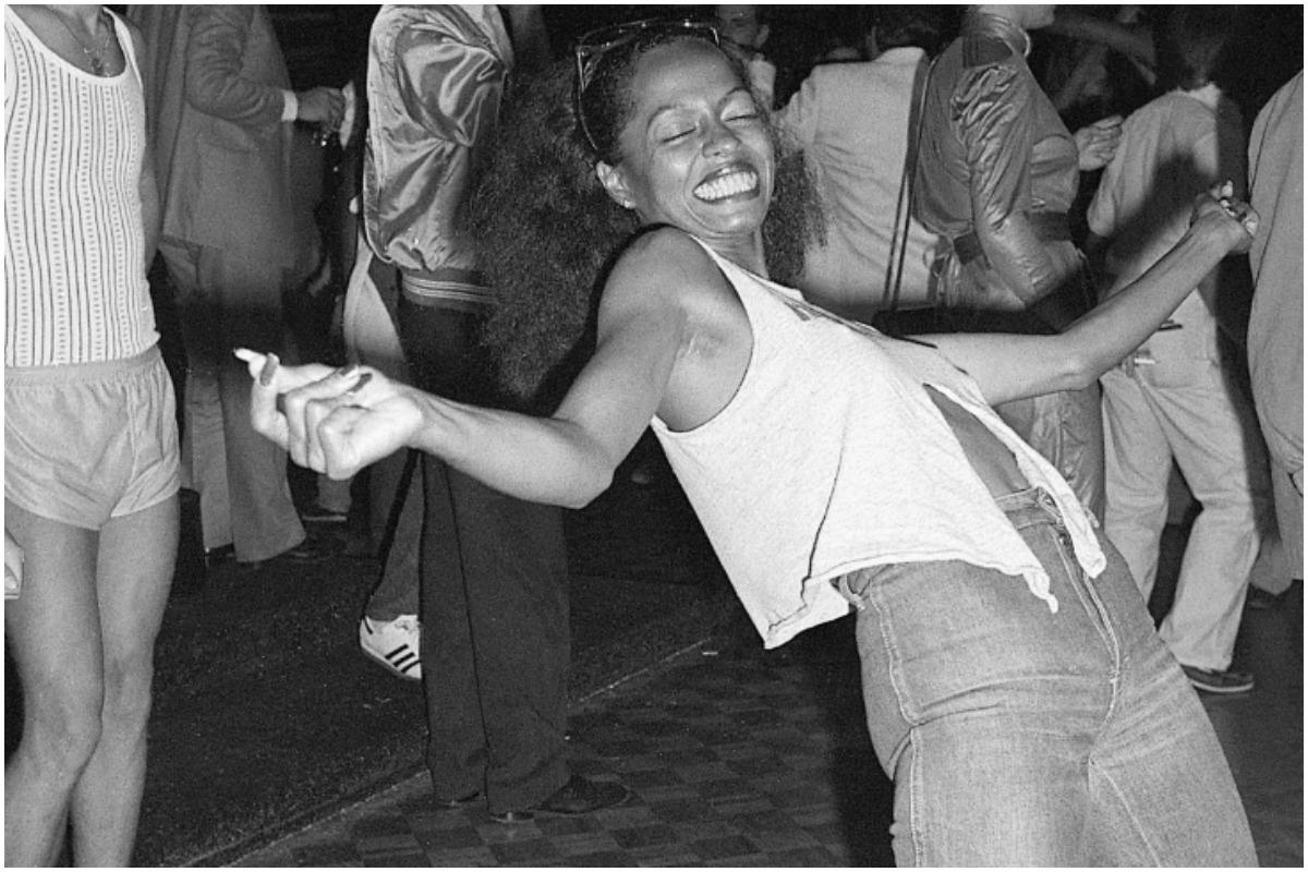 Diana Ross dancing at Studio 54 in the 1970s.