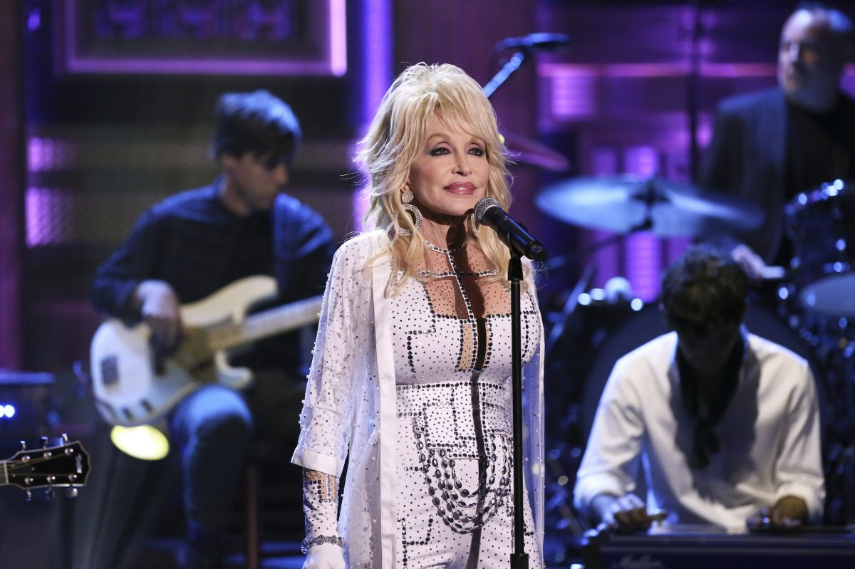 Dolly Parton performing on The Tonight Show Starring Jimmy Fallon in 2018
