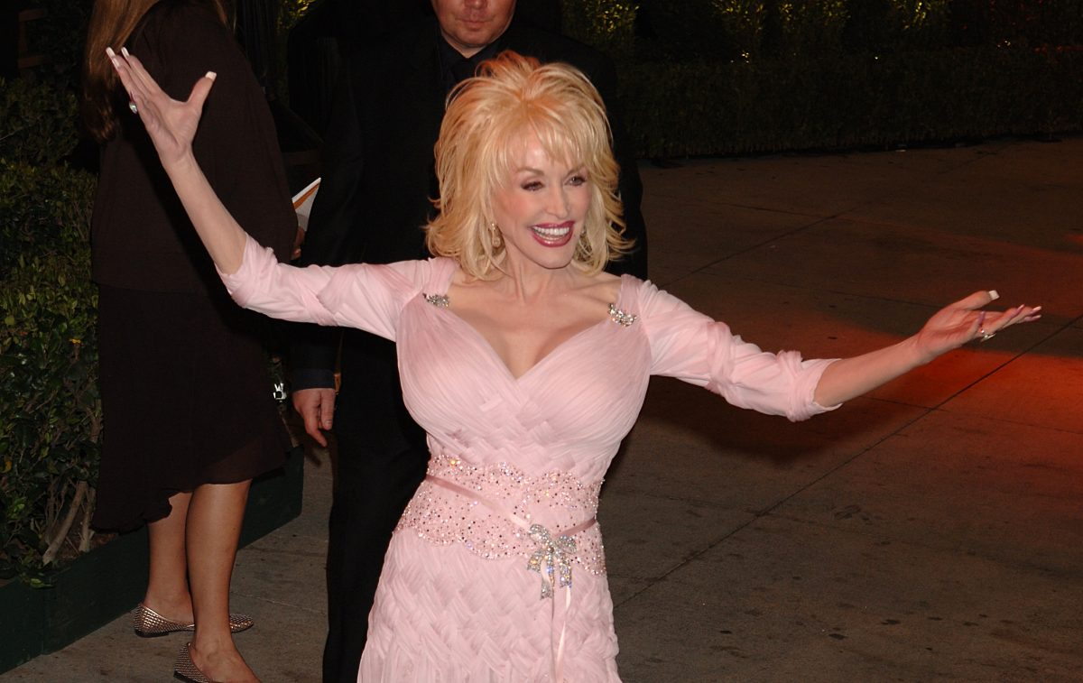 Dolly Parton in a pink dress at the Vanity Fair Post Oscars Party.