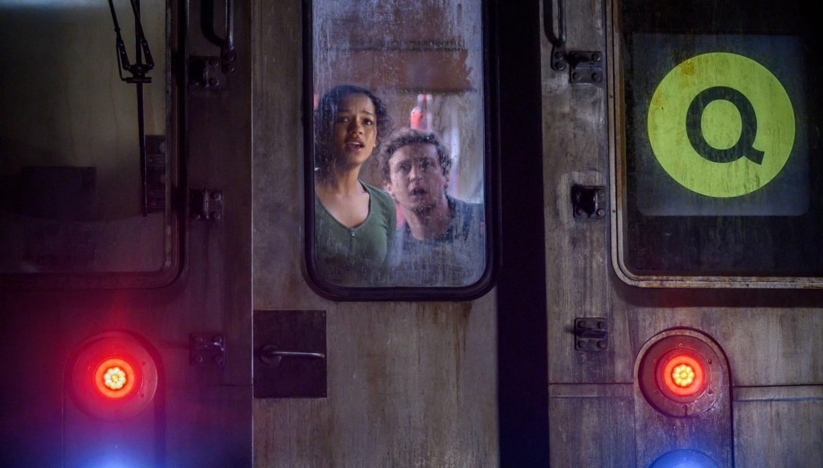 Escape Room: Tournament of Champions -- Taylor Russell and Logan Miller trapped on the subway