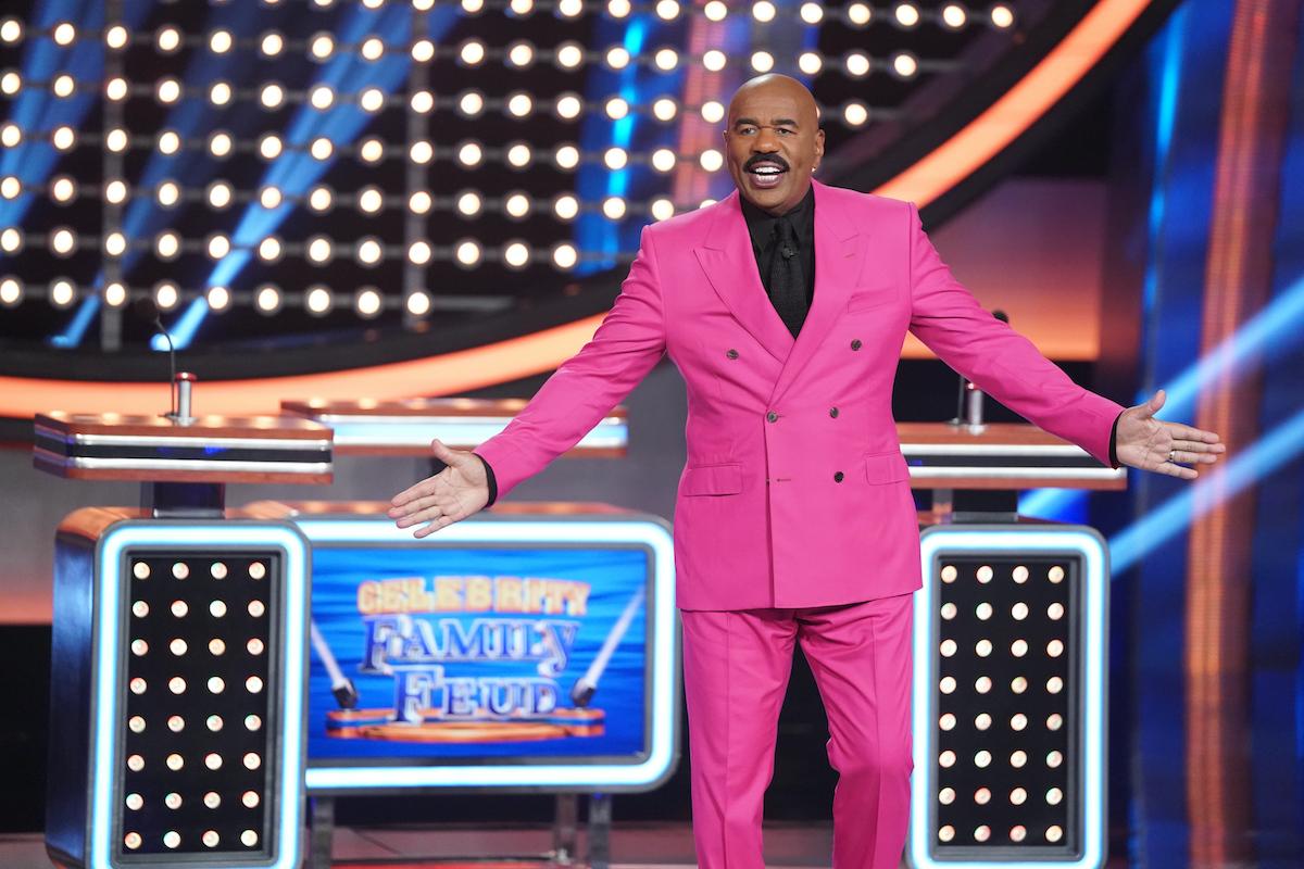 Celebrity Family Feud host Steve Harvey starts the game