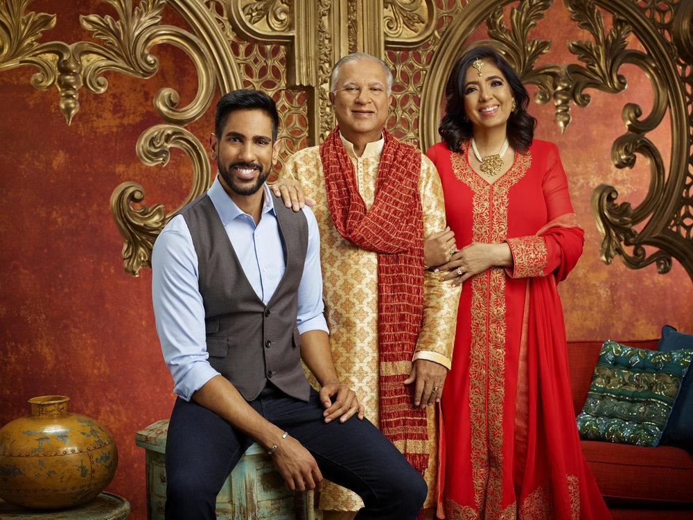 Family Karma cast photo of Amrit Kapai, Suresh Kapai, Lavina Kapai