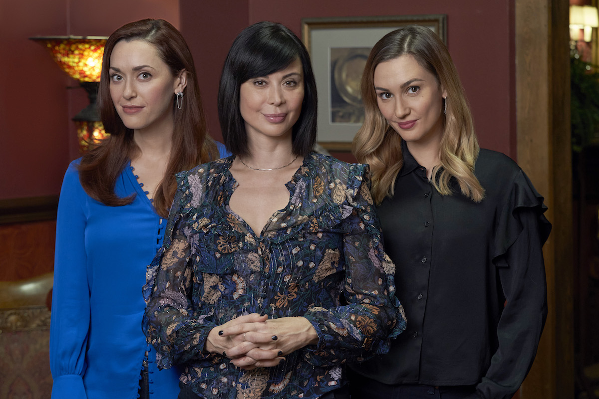 Sarah Power, Catherine Bell, and Katherine Barrell standing next to each other in the 'Good Witch' series finale