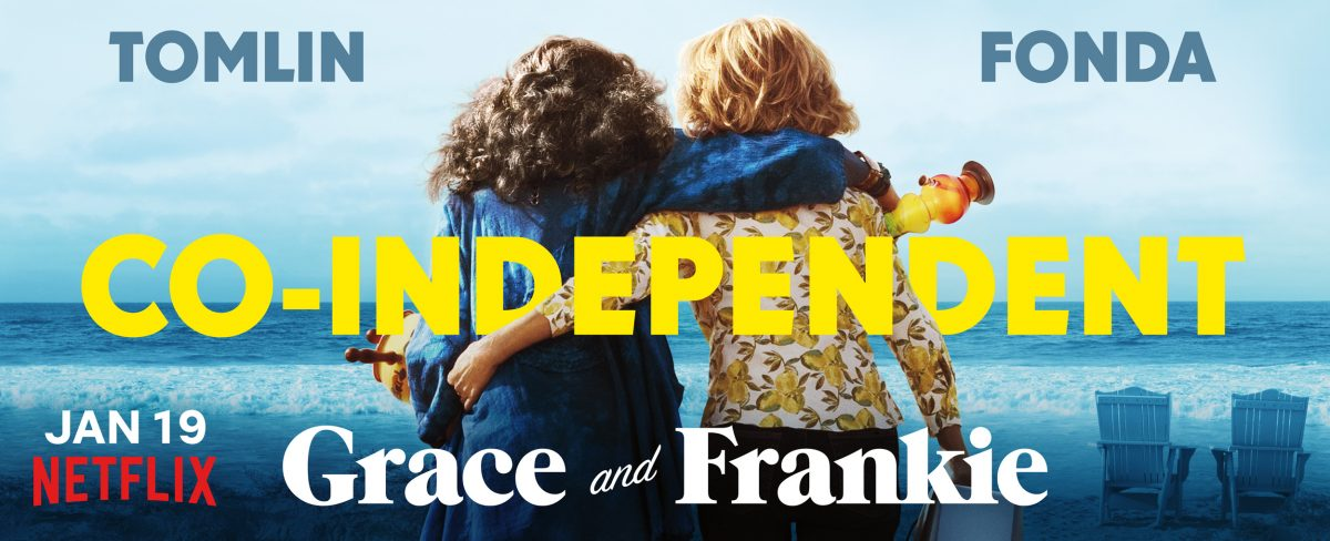 Promotional photos for 'Grace and Frankie' show Grace Hanson and Frankie Bergstein sitting together looking at the ocean