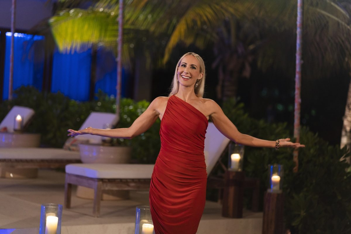 HBO host of FBOY Island Nikki Glaser ready for the elimination ceremony similar to The Bachelor