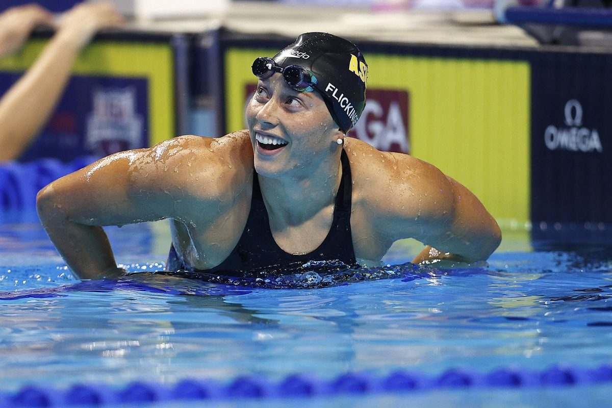 Hali Flickinger smiles after competing in the U.S. Olympic Team Swimming Trials