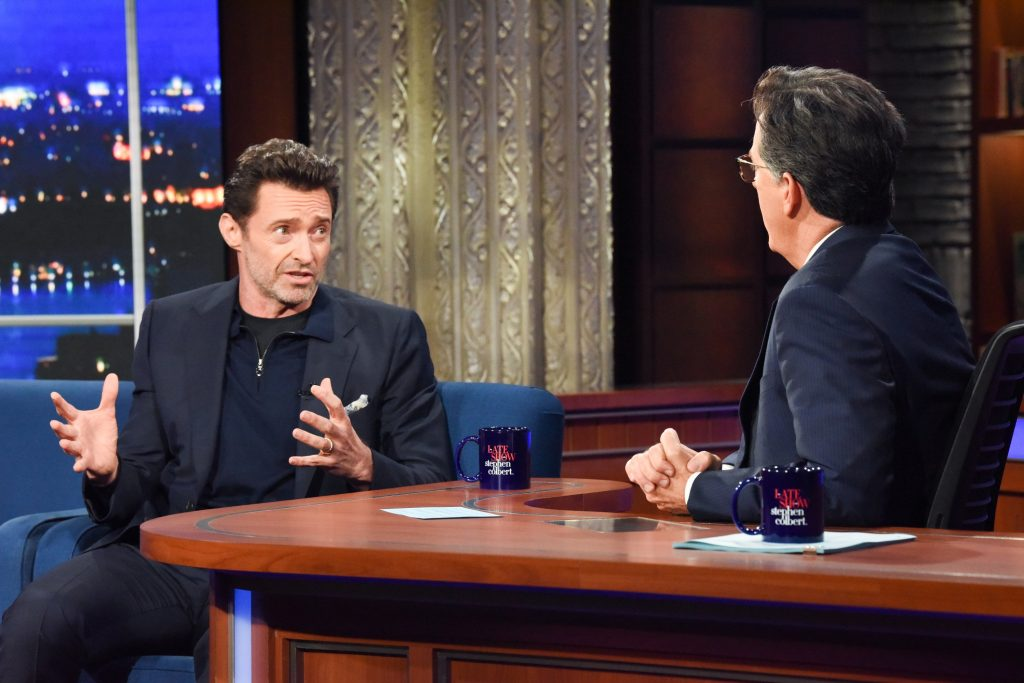Hugh Jackman talks to Stephen Colbert about his new movie Reminscence coming to HBO in August