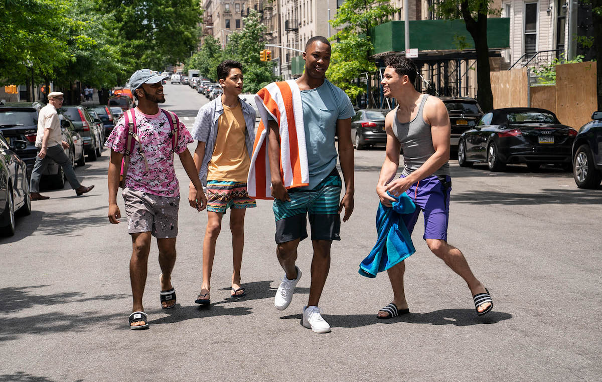 Noah Catala, Gregory Diaz IV, Corey Hawkins, and Anthony Ramos in a scene from 'In the Heights'