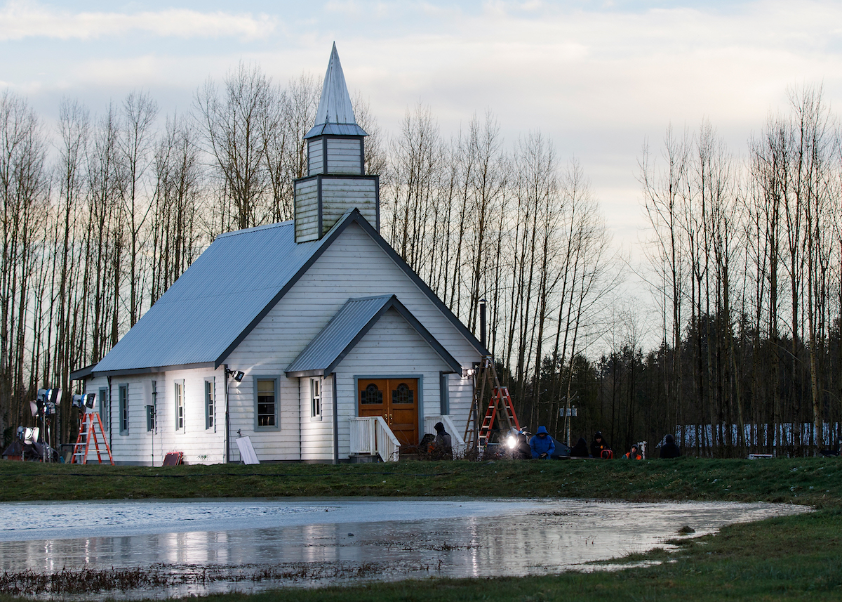 View of Hope Valley's church during filming for 'When Calls the Heart' on the Jamestown movie set in Canada