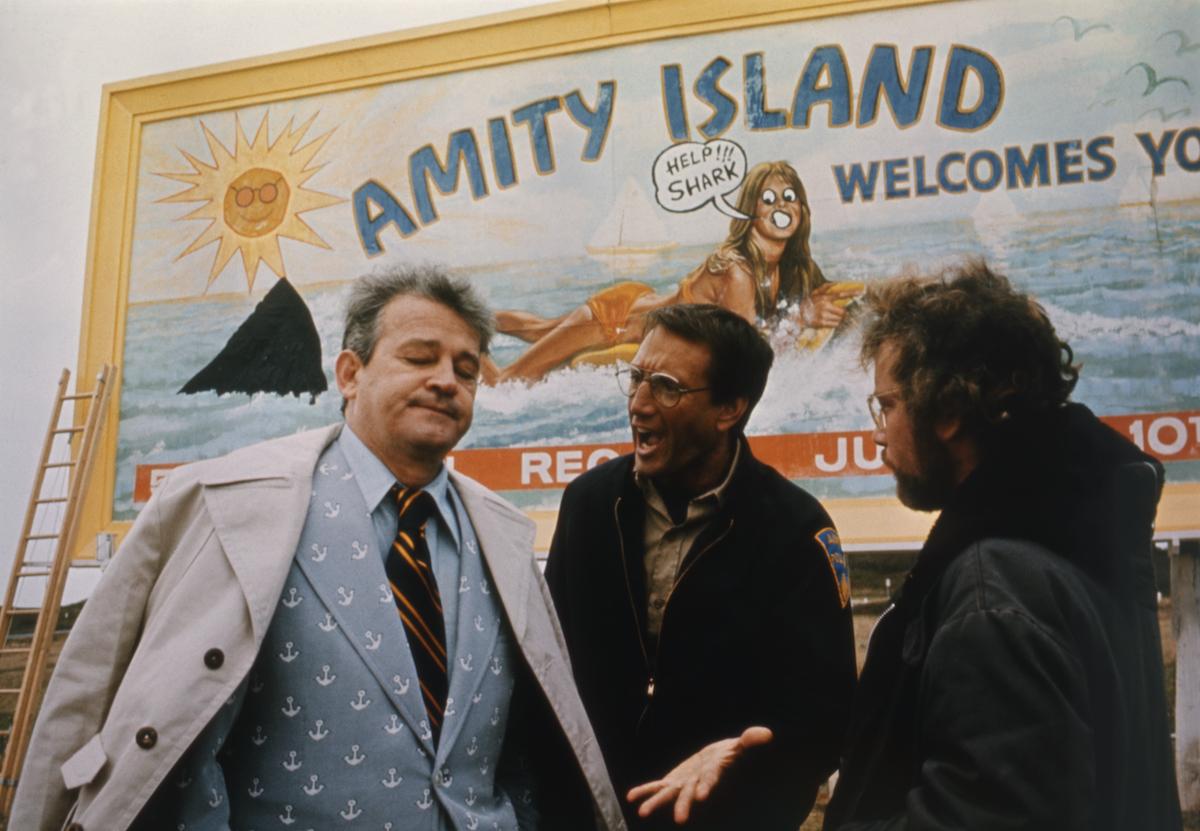 Murray Hamilton, Roy Scheider, and Richard Dreyfuss on Jaws set