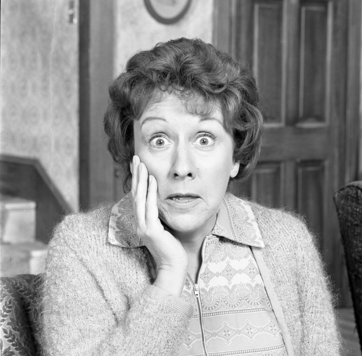 Actor Jean Stapleton strikes a surprised pose, hand on cheek, for a photo as 'All in the Family's Edith Bunker